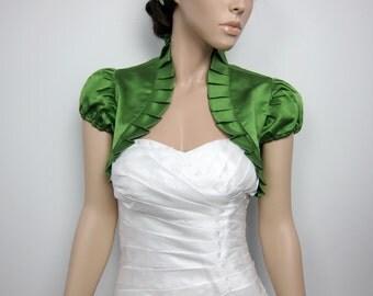 Moss Green short sleeve satin bolero wedding bolero jacket shrug