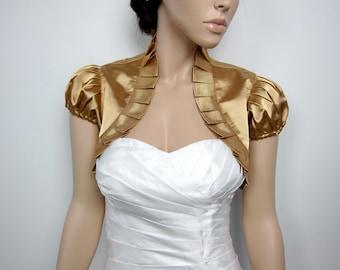 Gold short sleeve satin bolero wedding bolero jacket shrug