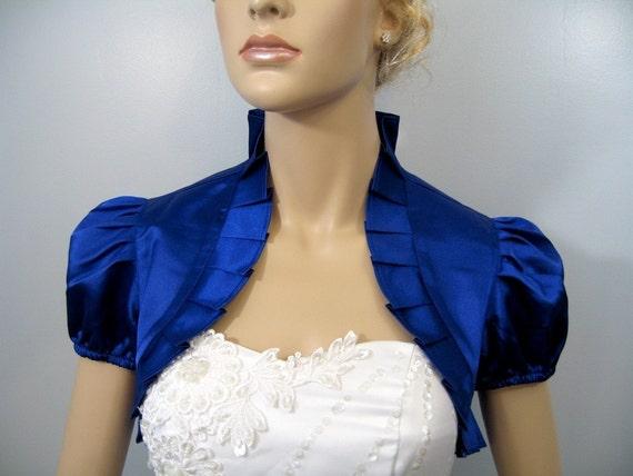Lady Angel Free Shipping Short Beige Chiffon Bridesmaid: Blue Short Sleeve Satin Wedding Bolero Jacket Shrug