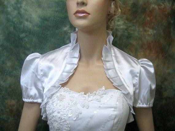 Lady Angel Free Shipping Short Beige Chiffon Bridesmaid: White Short Sleeve Satin Wedding Bolero Jacket Shrug