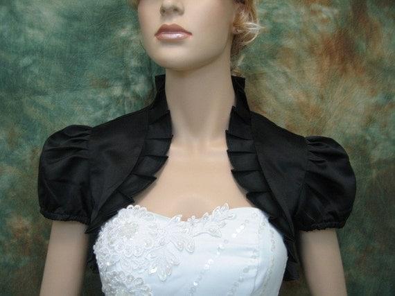 Custom listing for 3 Black short sleeve satin wedding bolero jackets