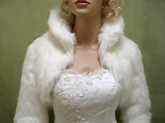 Ivory faux fur jacket shrug bolero Wrap FB002-Ivory