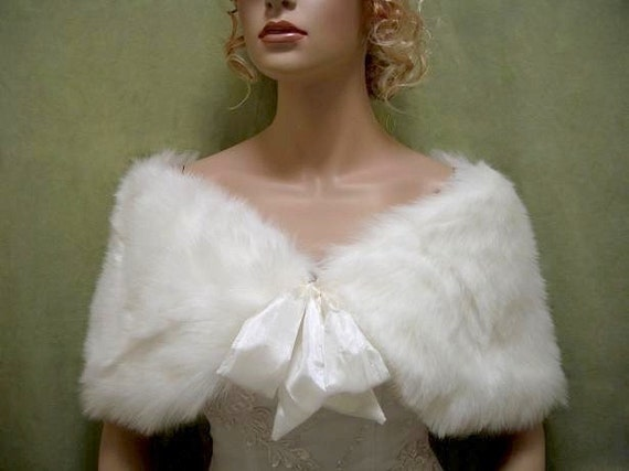 For flower girl - Ivory faux fur bridal wrap shrug stole shawl Cape C002