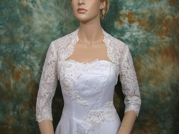 Ivory 3/4 sleeve wedding bridal lace bolero jacket - alencon lace