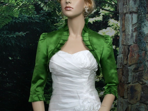 Moss Green 3/4 sleeve satin wedding bolero jacket shrug