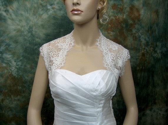 Light ivory sleeveless bridal lace wedding bolero jacket