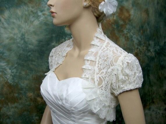 Ivory short sleeve corded lace wedding bolero jacket shrug