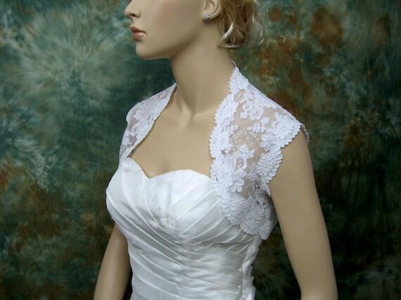 White sleeveless bridal alencon lace wedding bolero jacket