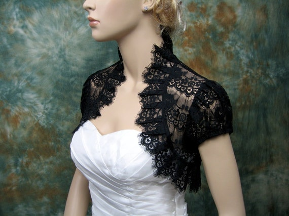 Black lace short sleeve lace bolero jacket lace shrug wedding bolero wedding jacket wedding shrug bridal bolero bridal jacket bridal shrug