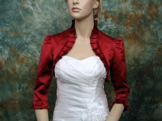 Wine Red 3/4 sleeve satin wedding bolero jacket shrug