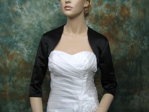 Black 3/4 sleeve satin bolero wedding bolero jacket shrug