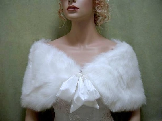 White faux fur bridal wrap shrug stole shawl Cape C002-White
