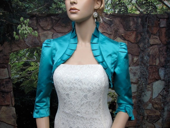 Teal 3/4 sleeve satin wedding bolero jacket shrug