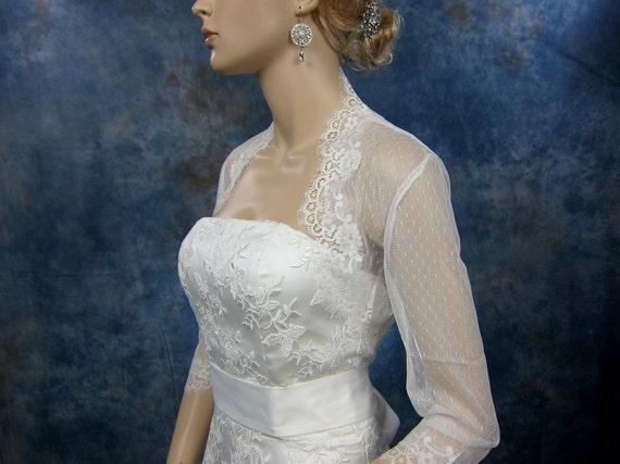 3/4 sleeve wedding bridal ivory lace bolero jacket - dot lace