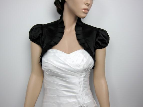 Black short sleeve satin wedding bolero jacket shrug by alexbridal