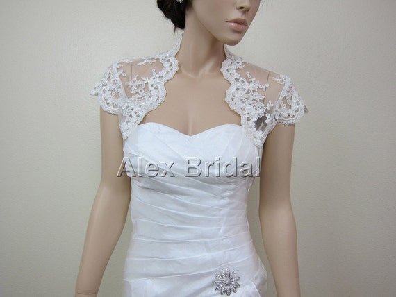 Ivory cap sleeve alencon lace bolero jacket bridal bolero bridal jacket bridal shrug wedding bolero wedding jacket wedding shrug