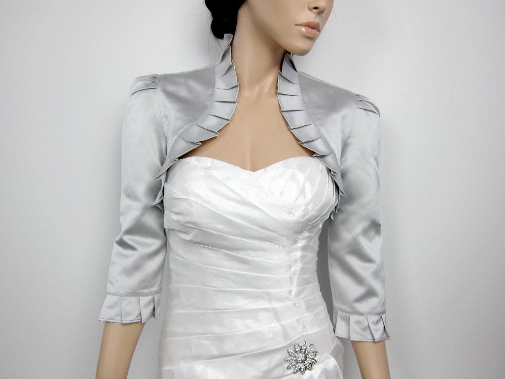 silver 3 4 sleeve satin bolero wedding bolero jacket shrug. Black Bedroom Furniture Sets. Home Design Ideas