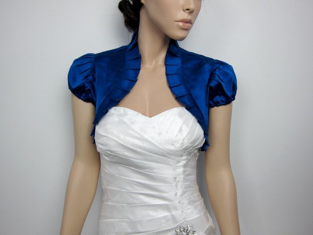 Royal Blue short sleeve satin wedding bolero jacket by alexbridal