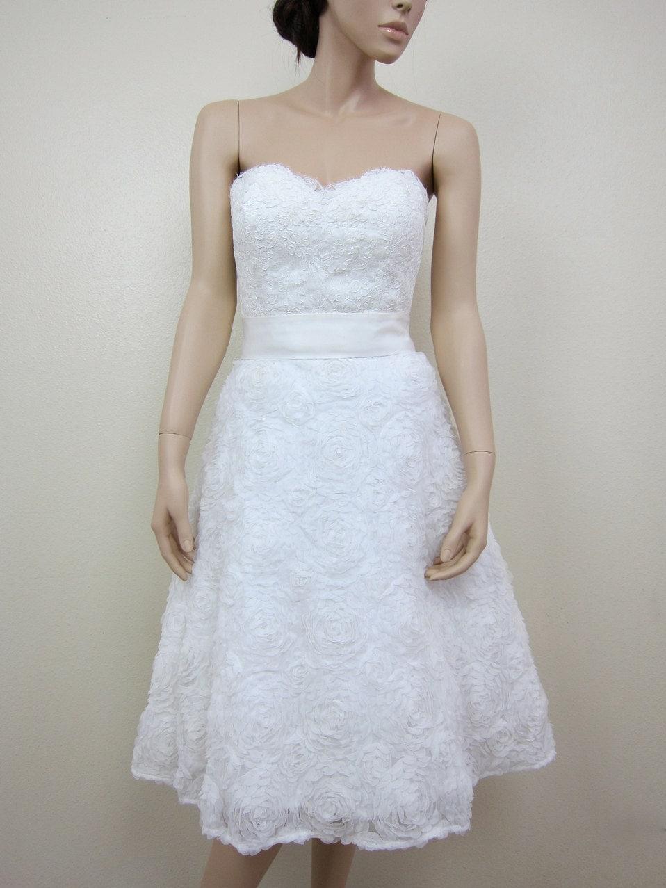 Ivory Strapless Tea Length Wedding Dress Alencon By Alexbridal