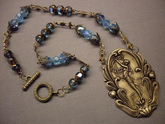 FREE SHIP, Victorian, Fantasy, Retro, Fall, Autumn, Antique Brass, Filigree, Blue, Fairy Necklace