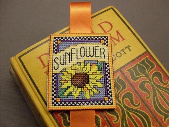 FREE SHIP, Cottage Chic, Cross Stitched, Yellow, Blue, Orange, Flower, Sunflower Bookmark