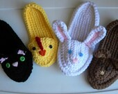 Animal Slippers Crochet Pattern(child to adult-5 sizes)- Permission to sell finished products