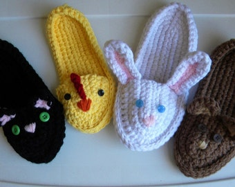 Animal Slippers Crochet Pattern(child to adult-5 sizes)permission to sell finished products.Immediate PDF file download.