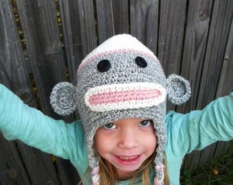 Sock MonKey Earflap Hat Crochet Pattern(newborn to adult sizes)-. Permission to sell finished products.Immediate PDF file download.