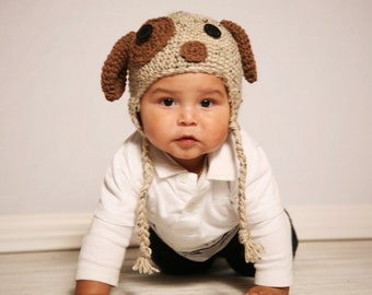 Floppy Ear Doggie Hat Pattern(newborn to adult sizes)- Permission to sell finished products.Immediate PDF file download.