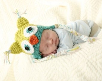 Owl Earflap Hat Crochet Pattern-6 sizes-baby to adult(Permission to sell finished items.Photography prop)Immediate PDF file download.