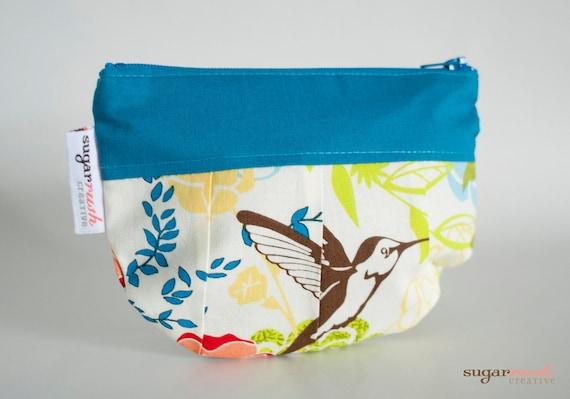 Blue Bird Pleated Make Up Bag