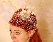 Rosalind - White Peacock Veiled Bridal Fascinator