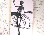 Halloween skeleton all dressed up for a French party glitter black seam binding hand made gift tag