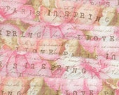 I  love paris in spring, pinks green floral vintage fabric torn ribbon , french script 2 83 oohlala