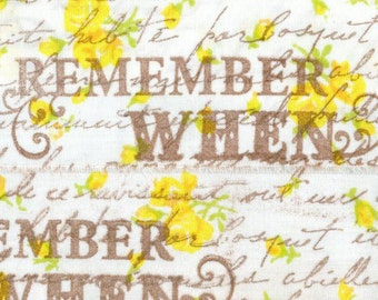 """REMEMBER WHEN Sweet cottage yellow rose garden, french script,  hand made muslin ribbon 2""""inches . ... 60 . ....oohlala"""