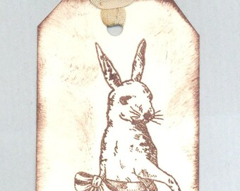 vintage rabbit with apron 4 gift tags . ....oohlala
