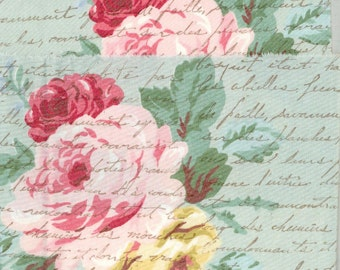 "muslin 4.5"" wide ribbon floral vintage french script chic hand made stamped blues yellow pinks spring (item c329"
