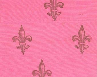 Fleur de lis  hot pink  french chic handmade ribbon fabric muslin trim hand dyed  6 607 . ....oohlala