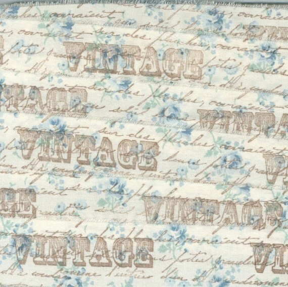 VINTAGE  french blue floral fabric rubber stamped ribbon1.5 inches . ... 75 . ....oohlala