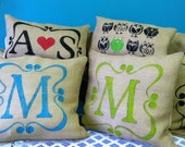 "Burlap Monogram Initial Pillow 22"" X 22"" with Scroll"