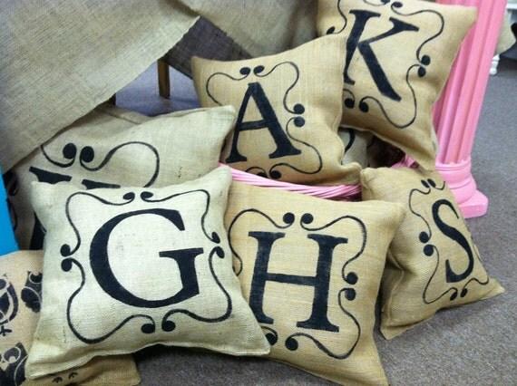 Our 16' burlap pillow Monogrammed
