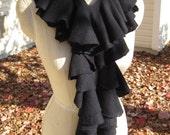 Spiral Scarf in Black Wool- RESERVED for Jordan
