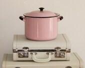 RESERVED for Trina Vintage Pink Enamelware Stock Pot Large