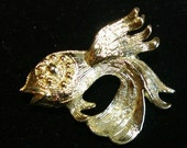 Vintage Fish Brooch, Betta, Gold Tone,  1960s
