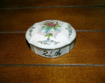 25th Anniversary Trinket, Fine China, By Norcrest, Vintage 1970's