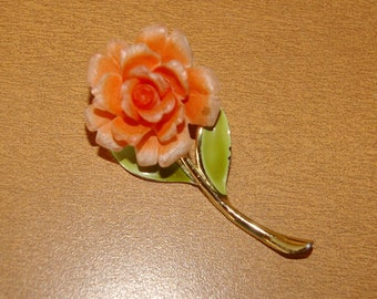 Vintage Peach Rose Brooch,  Gold Tone, Signed JJ, 1970's