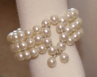 White Pearl Bracelet, Three Strands, Coil Action, Vintage 1960's 1970's