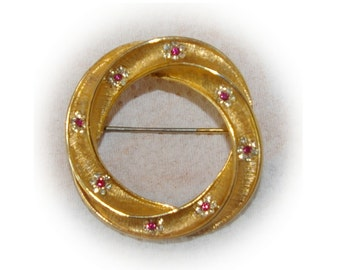 Gold Circle Brooch, Ruby Crystals, Signed BSK,  Vintage 1950's 1960's