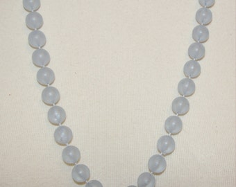 Blue Gray Beaded  Necklace - Translucent Beads-Long Length-Vintage 1970's