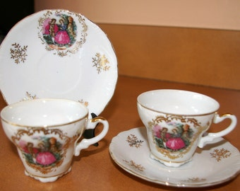 Girls Fine China Tea Set, Arnart, Courting Couple, 4 Pieces, Victorian, Vintage 1970's